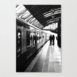 S-Bahn Berlin black and white photo Canvas Print