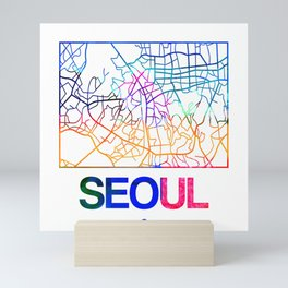Seoul Watercolor Street Map Mini Art Print