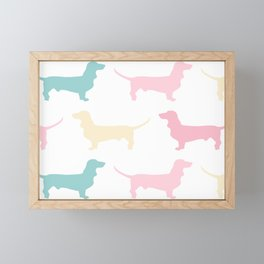 Pastel Dachshund Pattern Framed Mini Art Print