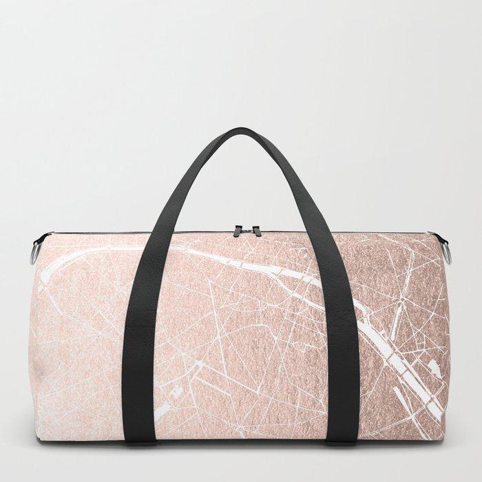 Paris France Minimal Street Map - Rose Gold Glitter on White Duffle Bag