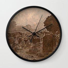 Irish Graveyard | Sepia Graveyard | Halloween Landscape Wall Clock