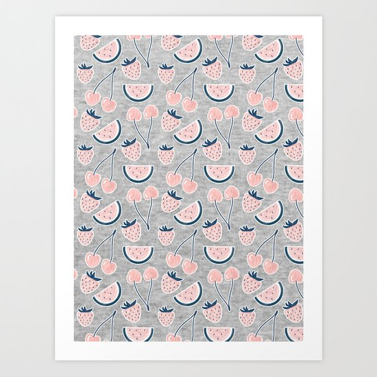 Fruit Pattern on Gray Melange Art Print