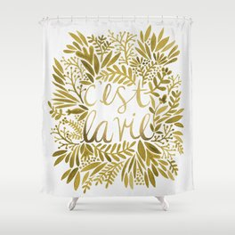 That's Life – Gold on Gold Shower Curtain