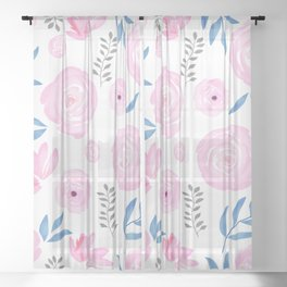 Floral Pastel Blush Pink Indigo Watercolor Flower Pattern Sheer Curtain