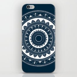 Ukatasana white mandala on blue iPhone Skin