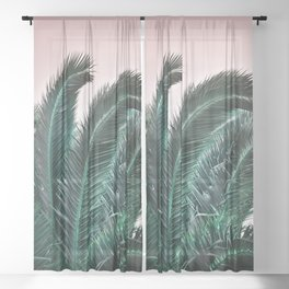 Palm Tree Leaves Sheer Curtain