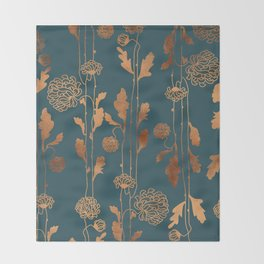 Art Deco Copper Flowers  Throw Blanket