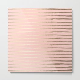 Abstract Stripes Gold Coral Light Pink Metal Print