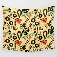 saxophone Wall Tapestries featuring Jazz Rhythm (positive) by Chicca Besso