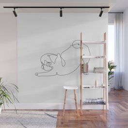 One line Pug Downward Dog Wall Mural
