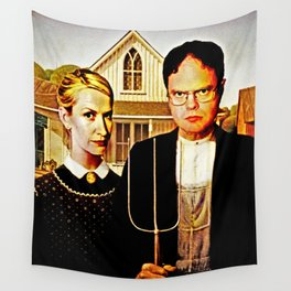 Dwight Schrute & Angela Martin (The Office: American Gothic) Wall Tapestry