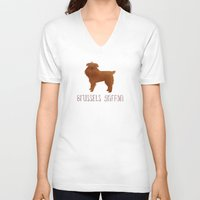 brussels V-neck T-shirts featuring Brussels Griffon by 52 Dogs