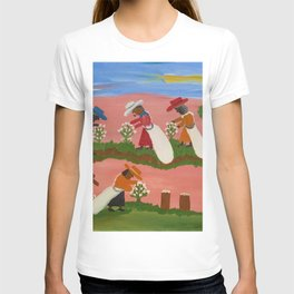 African American Masterpiece 'Six Figures Picking Cotton' folk art painting by Clementine Hunter T-shirt