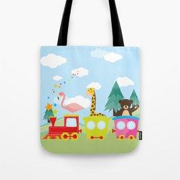 Animals Train , Nursery decor Tote Bag