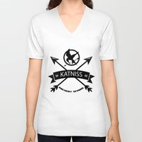 katniss V-neck T-shirts featuring Katniss Archery School by Art of Tyler Newcomb