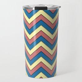 Blue Red and Yellow Chevrons Travel Mug