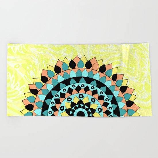 Floral mandala Beach Towel