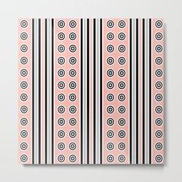 Geometric Vertical Stripes & Circles - Peach Pink, Gray Black White Metal Print