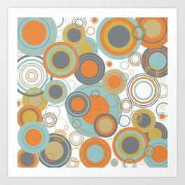 Retro Mid Century Modern Circles Geometric Bubbles Pattern Art Print