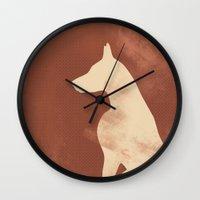 doberman Wall Clocks featuring Doberman Dog by ialbert