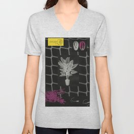 Strong Saints - Magic Dark collage with key, saints, net, shells, plants and grid Unisex V-Neck