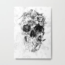 New Skull Light B&W Metal Print