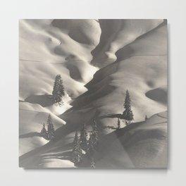 First Alpine Mountain snowfall of the season black and white photograph / photography by Rudolf Koppitz Metal Print