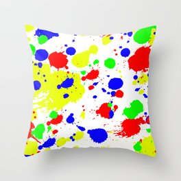 Colorful Paint Splatter. Throw Pillow