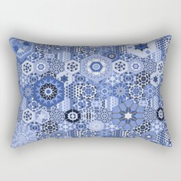 Hexagons Tiles (Azul) Rectangular Pillow