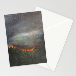 nightfall over forest Stationery Cards