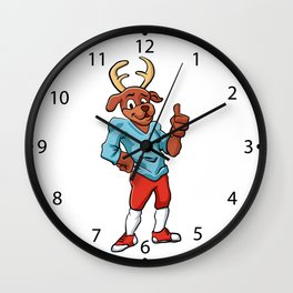 sport deer cartoon Wall Clock