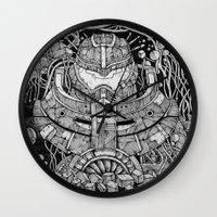 pacific rim Wall Clocks featuring Pacific Rim by Walid Aziz