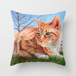 Ginger Cat - Ballpoint pen Throw Pillow