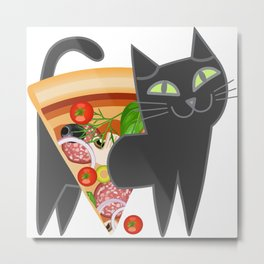 Cat loves pizza Metal Print