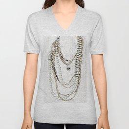vintage white gold necklace Unisex V-Neck