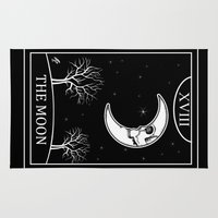 tarot Area & Throw Rugs featuring The Moon Tarot Card by Natasha Sines