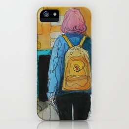 The Girl With the Yellow Backpack iPhone Case