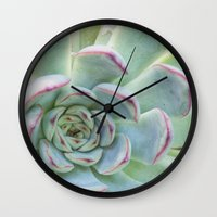 succulent Wall Clocks featuring Succulent by Tammy Franck