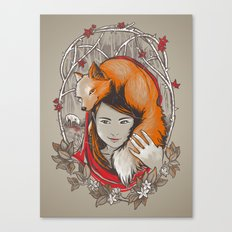 Safe in My Red Riding Hood Canvas Print
