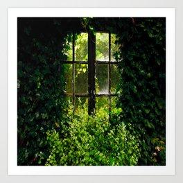 Green idyllic overgrown cottage garden window Art Print