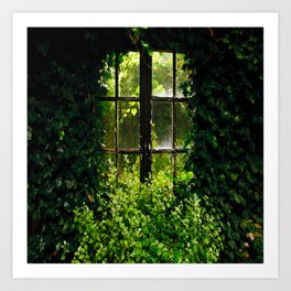 Green idyllic overgrown cottage garden window Art Print