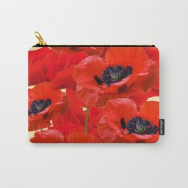 RED ORIENTAL POPPIES ON CREAM COLOR Carry-All Pouch