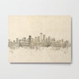 Seattle Washington Skyline Sheet Music Cityscape Metal Print
