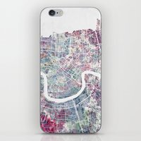 new orleans iPhone & iPod Skins featuring New Orleans  by MapMapMaps.Watercolors