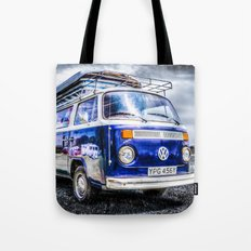 Blue VW campervan Tote Bag