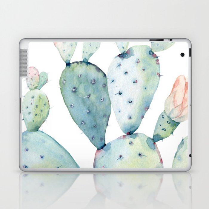 aa7914c802099 Pastel watercolor prickly pear cactus Laptop & iPad Skin by  southpacificprints