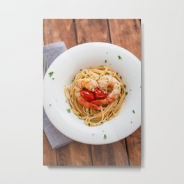 Linguine with Jumbo Tiger Shrimps Metal Print
