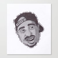 "tupac Canvas Prints featuring Tupac ''State Of Mind"" by SkilledCreativity"