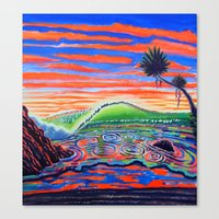 psychadelic Canvas Prints featuring  Surf Art Psychadelic  by Surf Art Gabriel Picillo