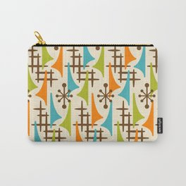 Retro Mid Century Modern Atomic Wing Pattern 421 Brown Orange Turquoise and Olive Green Carry-All Pouch
